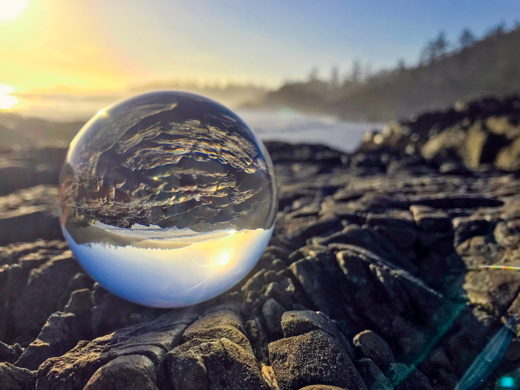 lensball on beach in tofino