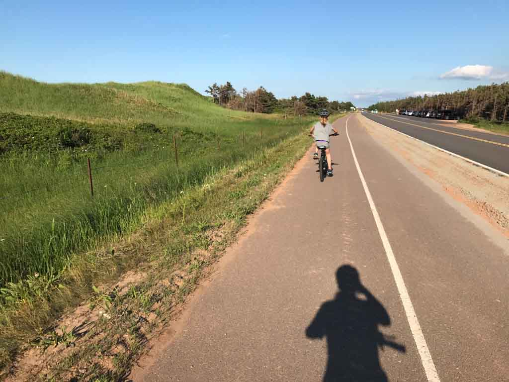 Biking on the road in PEI