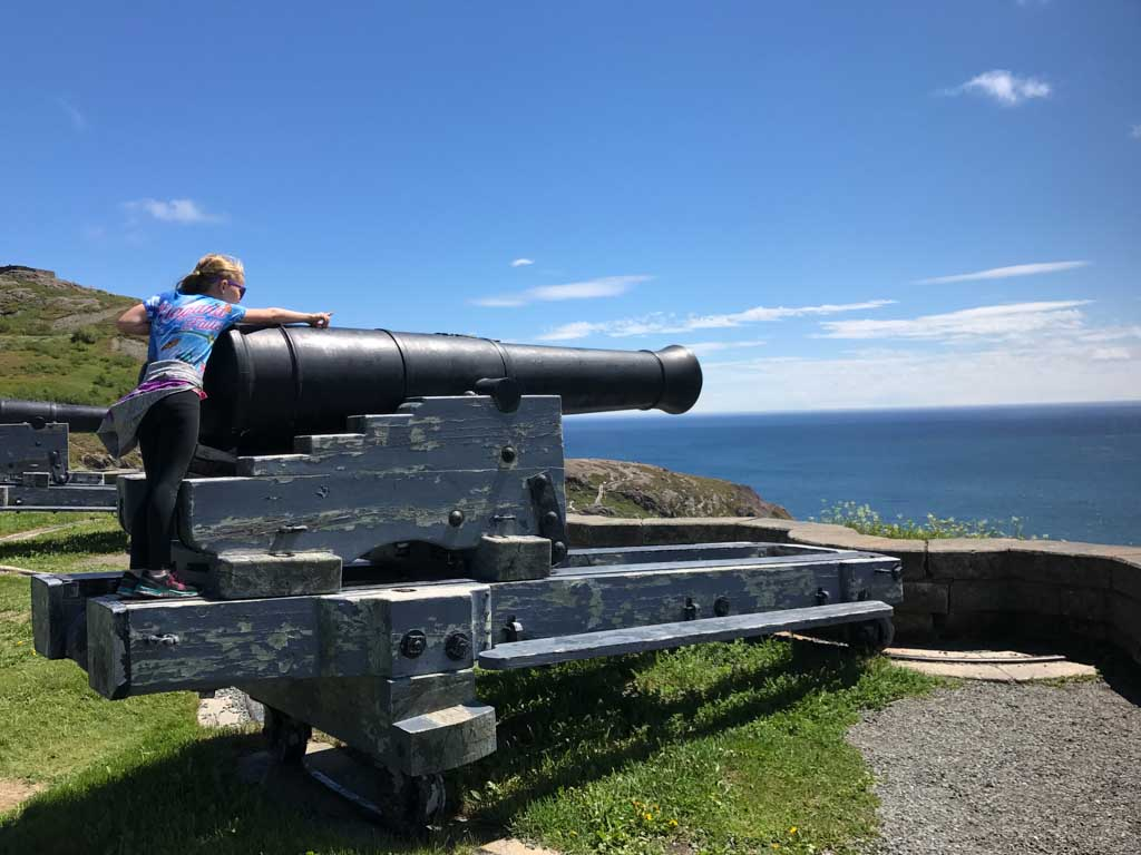 Child on cannon at Signal Hill National Historic Site