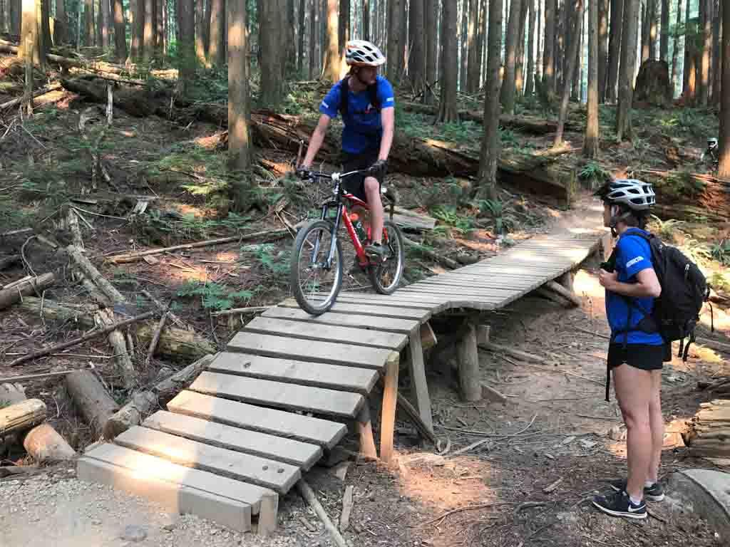 Pedalheads bike camp instructors reviewing biking trails