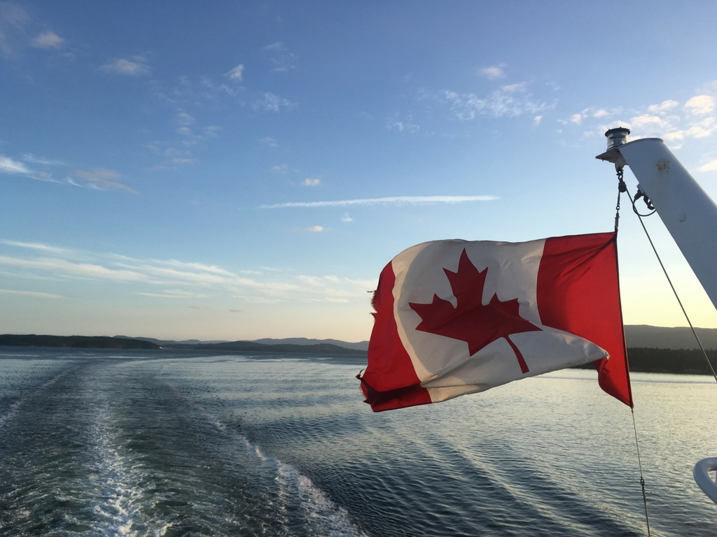 Canadian flag on ferry from our Vancouver Island road trip