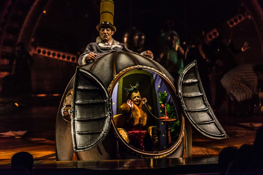 Performers on stage as Cirque Du Solei Kurios