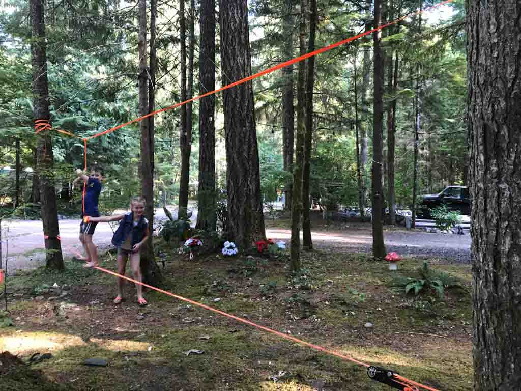 Slack line for best outdoor gifts for kids