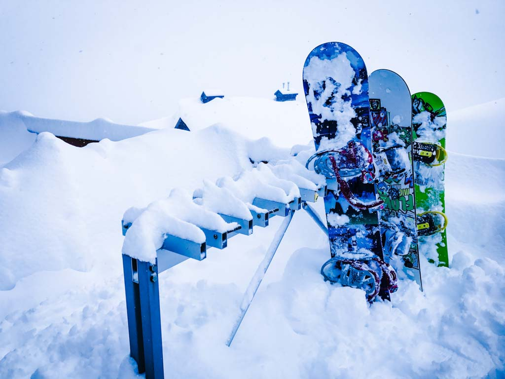 Snowboards on stand