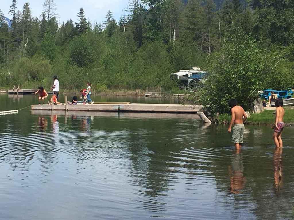 Kids swimming at Blue Lake