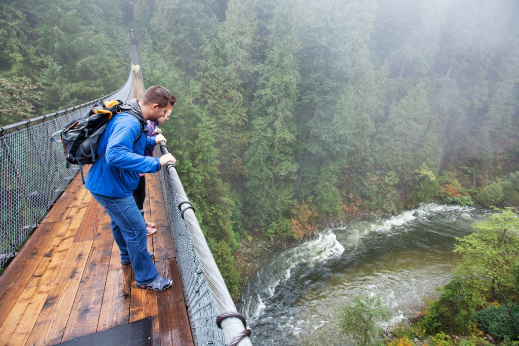 People looking over suspension bridge for Vancouver Day trips for families