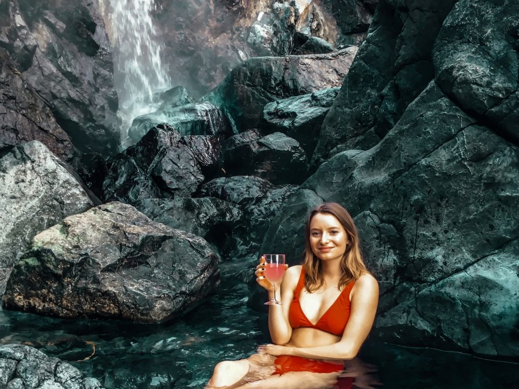 Woman in hot spring for Girls Weekend Getaway BC