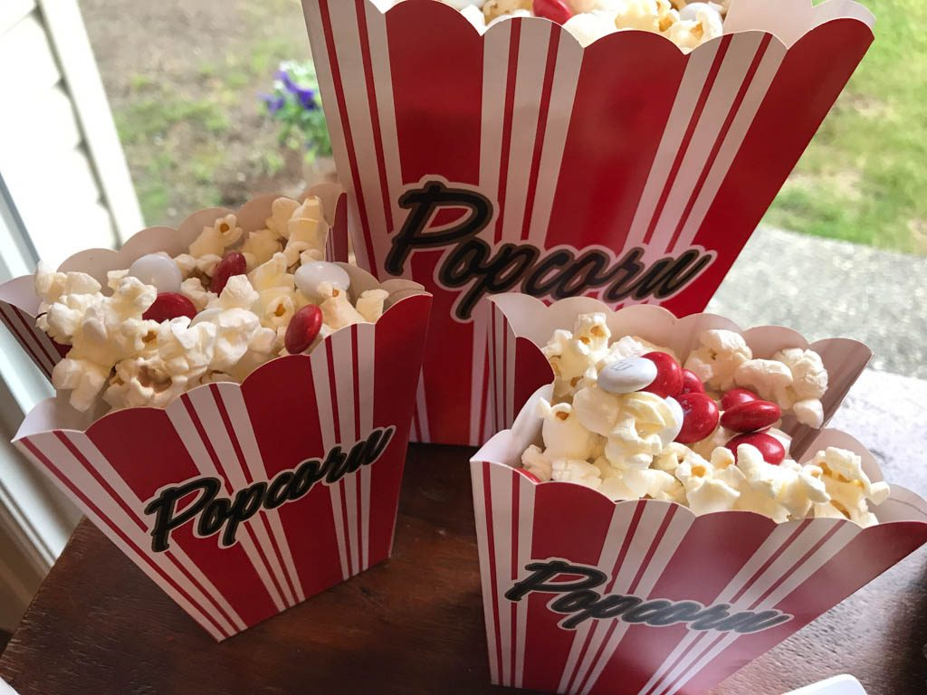 Popcorn with red candy for Campsite Friendly Canada Day Food
