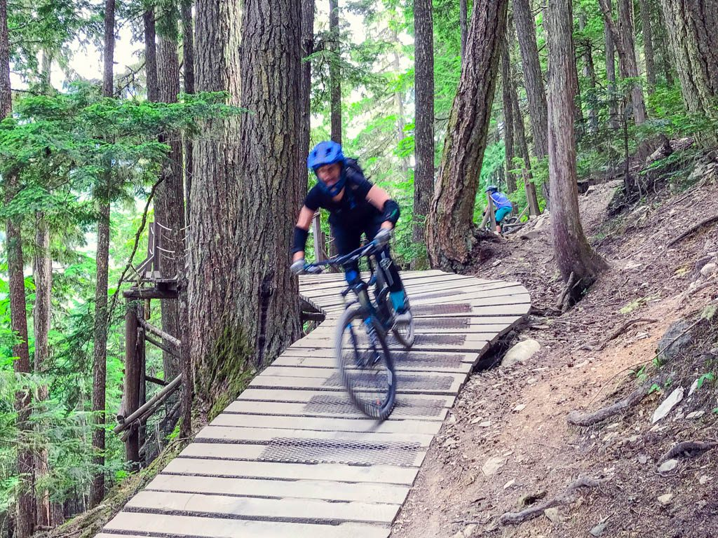 Jami Savage on Whistler bike trail for her Whistler Girls Weekend