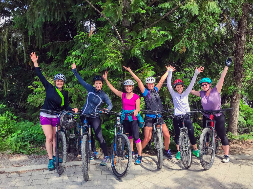 Women on mountain bikes in Whistler