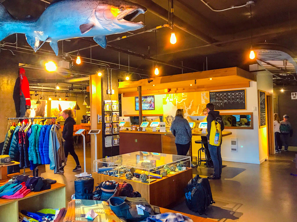 Inside Ocean Outfitters getting ready for the Tofino Whale Watching Hot Springs Tour