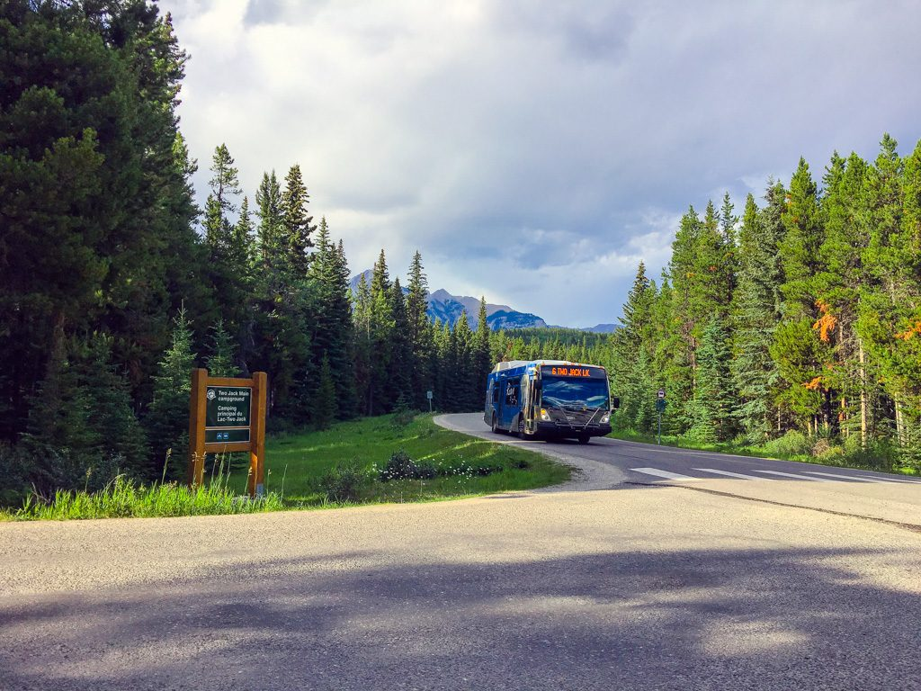 Banff National Park Bus on road