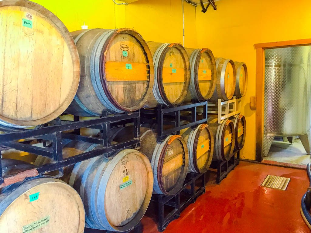 Cider barrels in Merridale Cidery and Distillery
