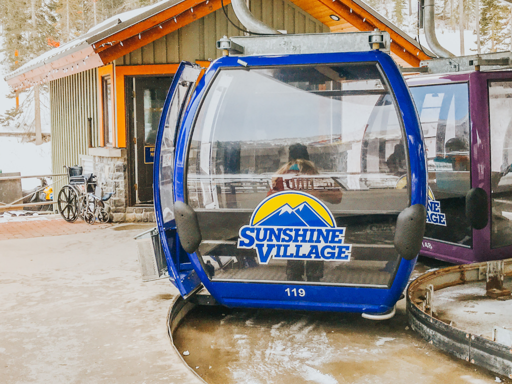 Gondola Car at Sunshine Village Ski & Snowboard Resort Banff