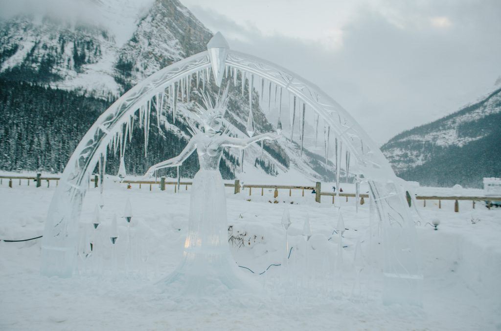 Ice sculpture of a woman at Lake Louise Ice Magic Festival