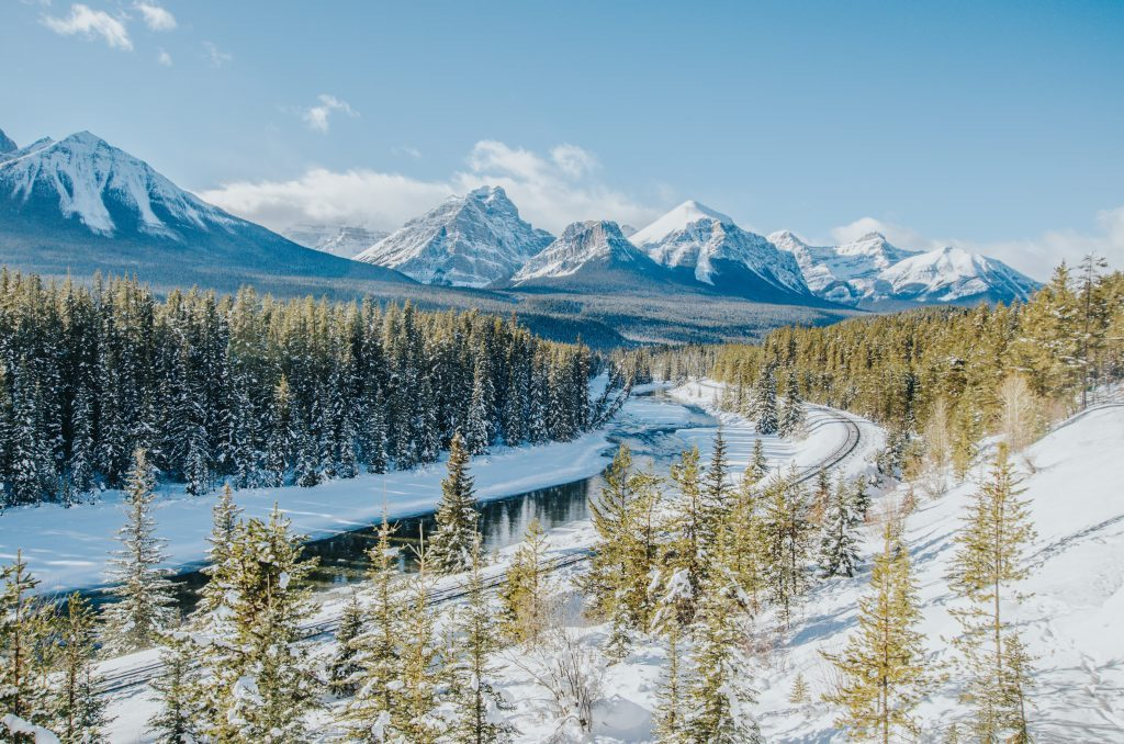 Morant's curve in Banff during a classic Canadian winter