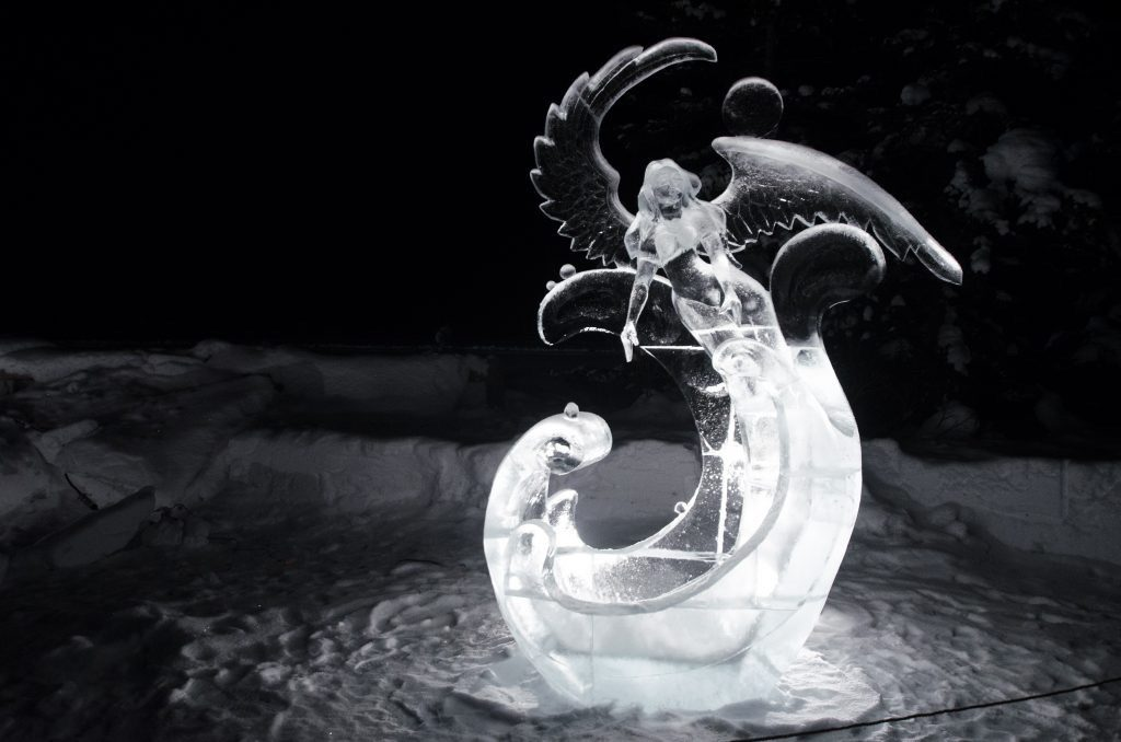 Ice sculpture of woman with wings