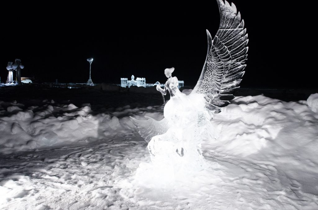 Ice sculpture of a bird