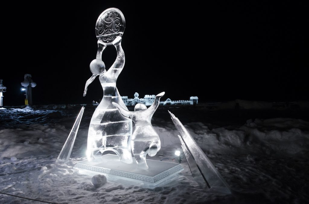 Ice sculpture called Gone fishing