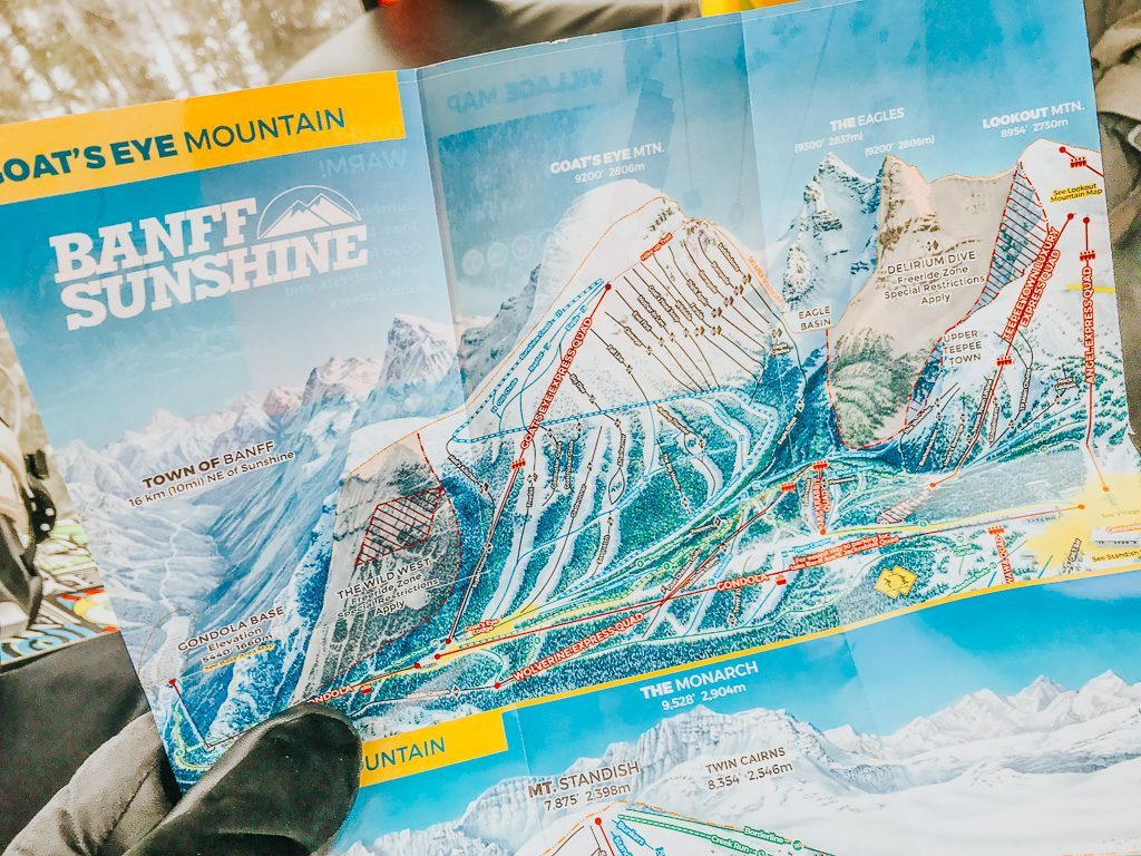 Map of ski runs at Sunshine Village Ski & Snowboard Resort Banff