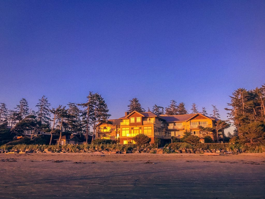 looking-at-long-beach-lodge-resort-at-sunset-from-beach