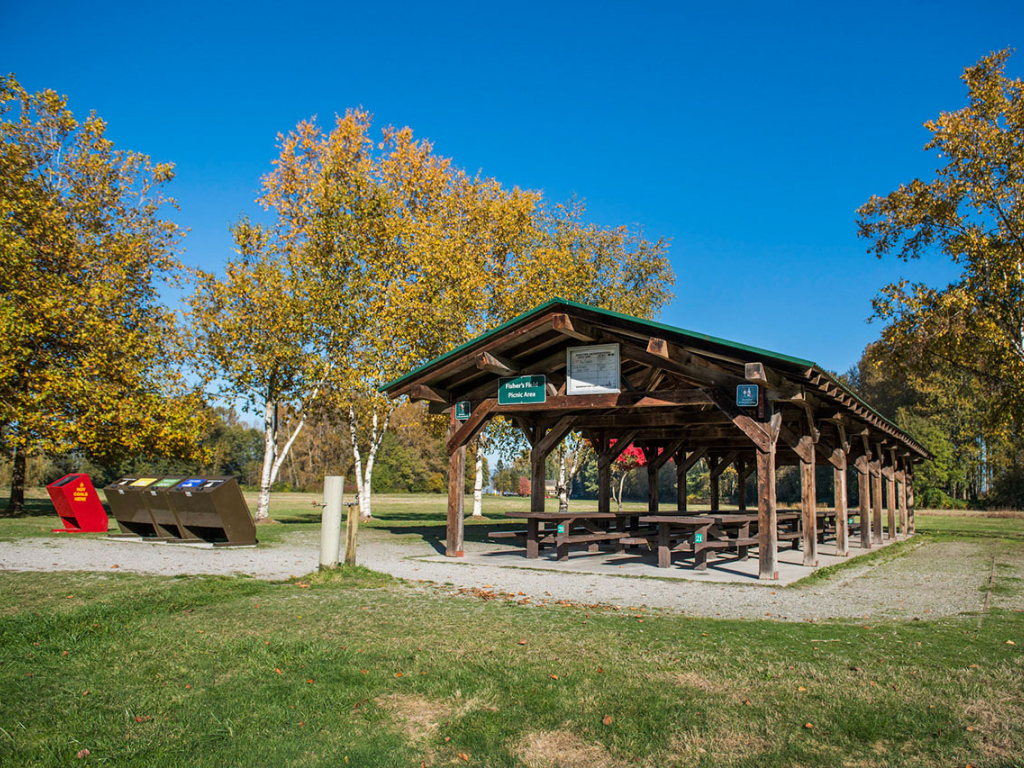 deas island picnic area with covered shelter