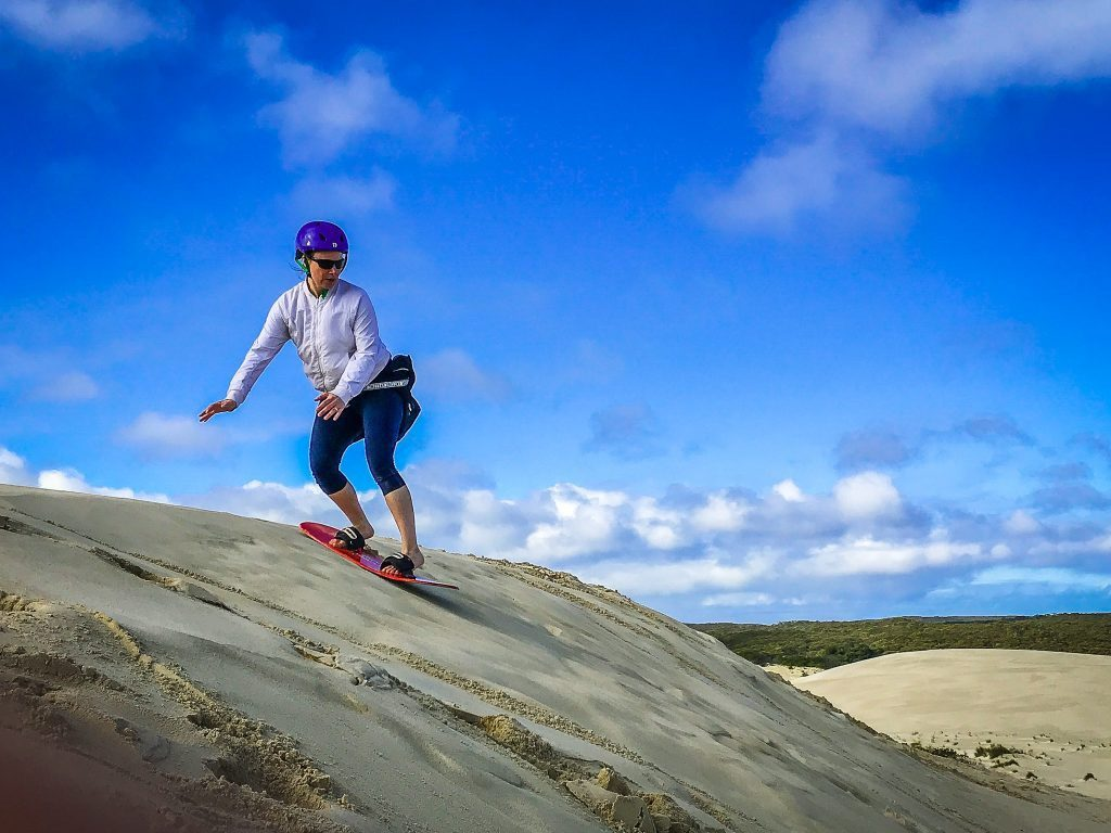 jami savage sandboarding on kangaroo island
