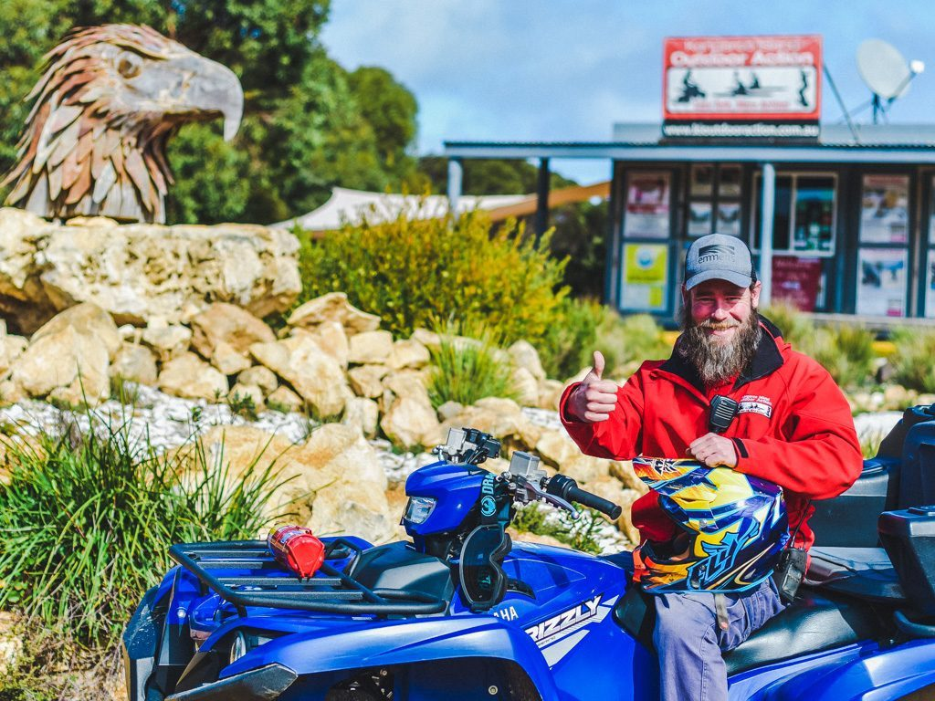 man giving thumbs up on quad at Kangaroo Island Outdoor Action