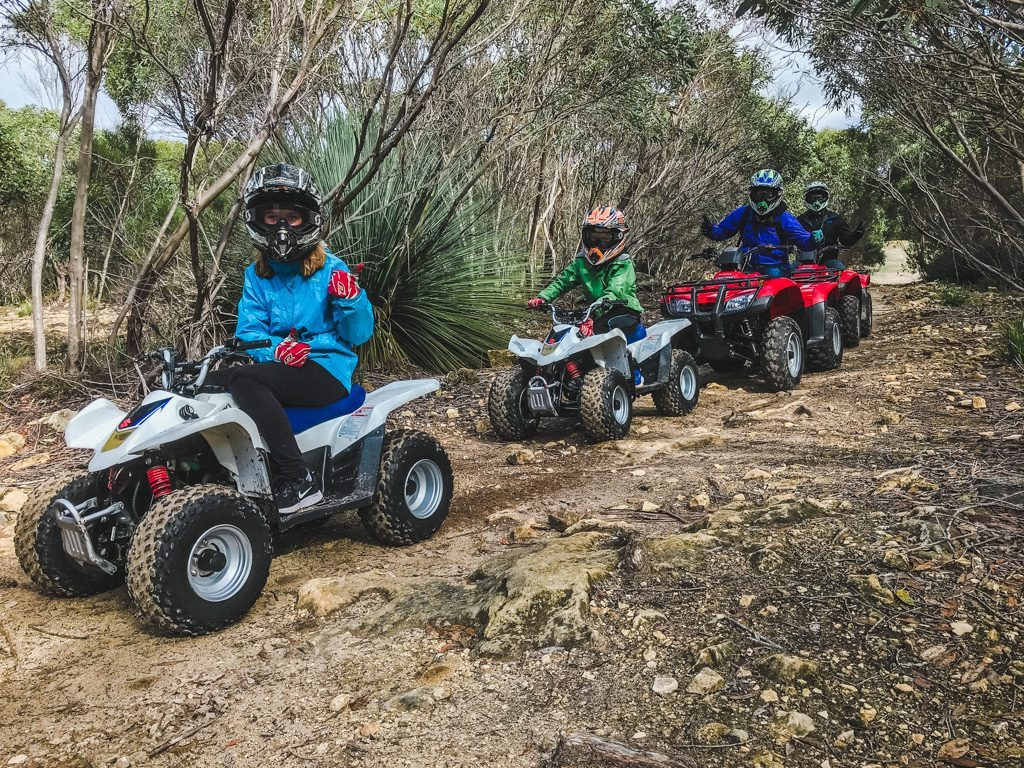 family on quads at Kangaroo Island Outdoor Action