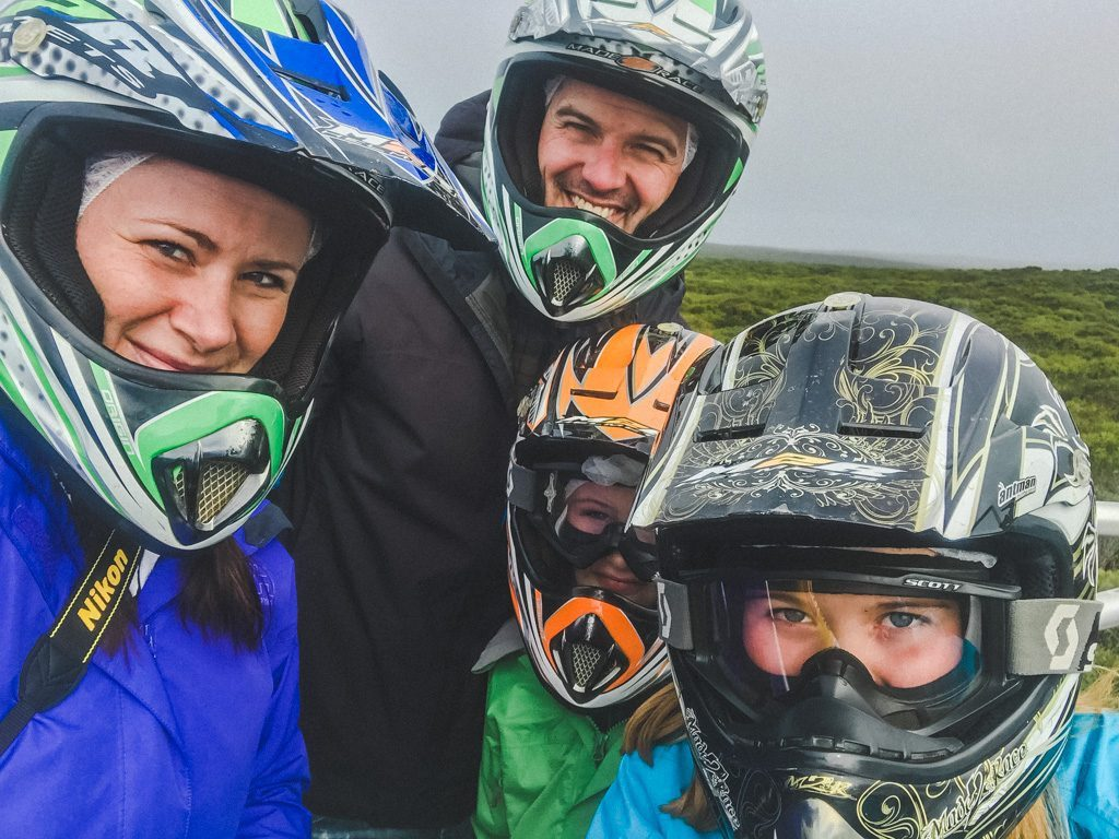 jami savage and family taking a selfie while riding quads with Kangaroo Island Outdoor Action