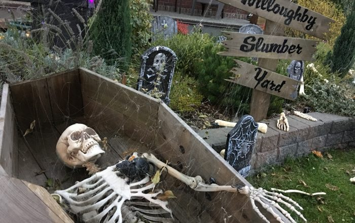 skeleton display outside haunted house langley