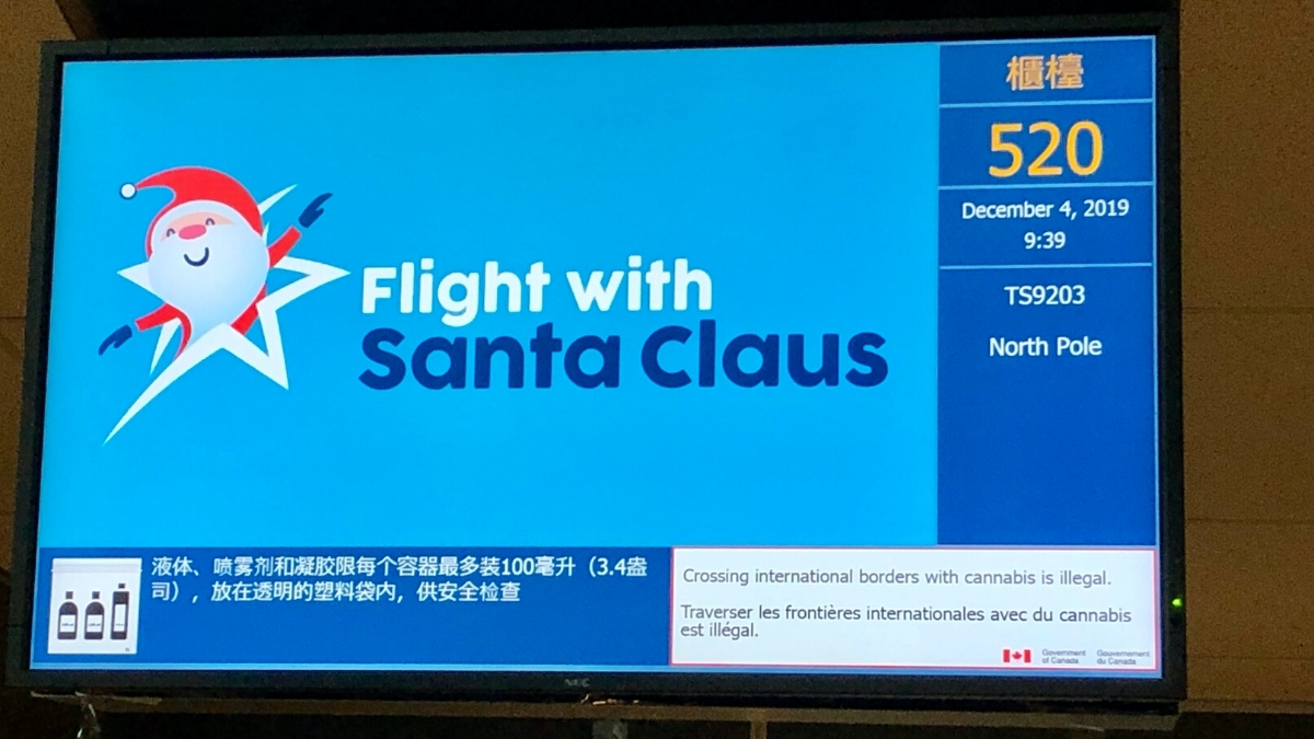 Flight departure screen for Children's Wish Flight in Search For Santa