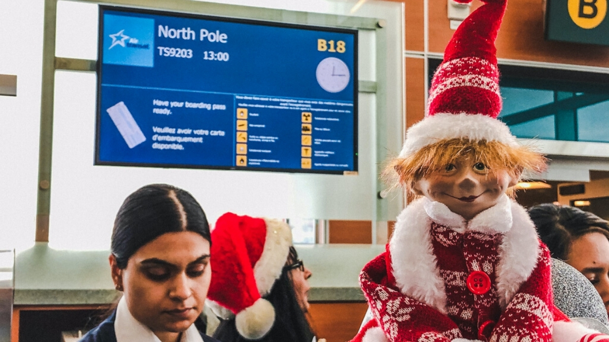 Check in desk for Children's Wish Flight in Search For Santa
