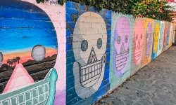 Skull art on wall in mexico