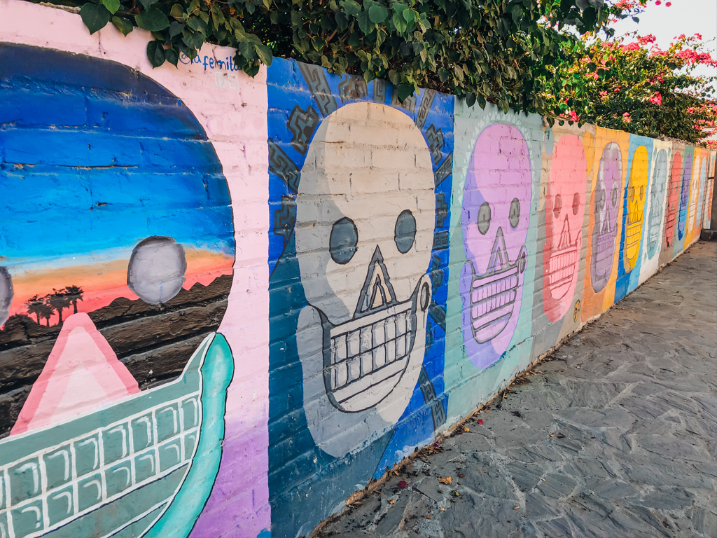 Art of colourful skulls on fence
