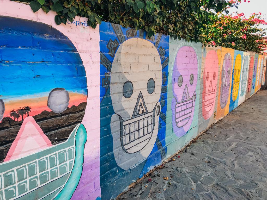 Art of colourful skulls on fence
