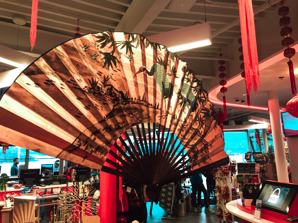large east asian art fan display in gift shop at flyover canada taiwan