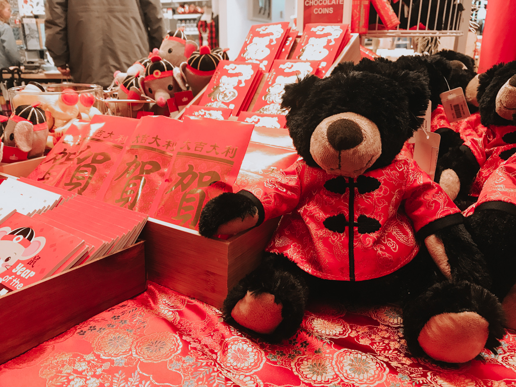 bear and red envelope display in the giftshop at the flyover canada taiwan