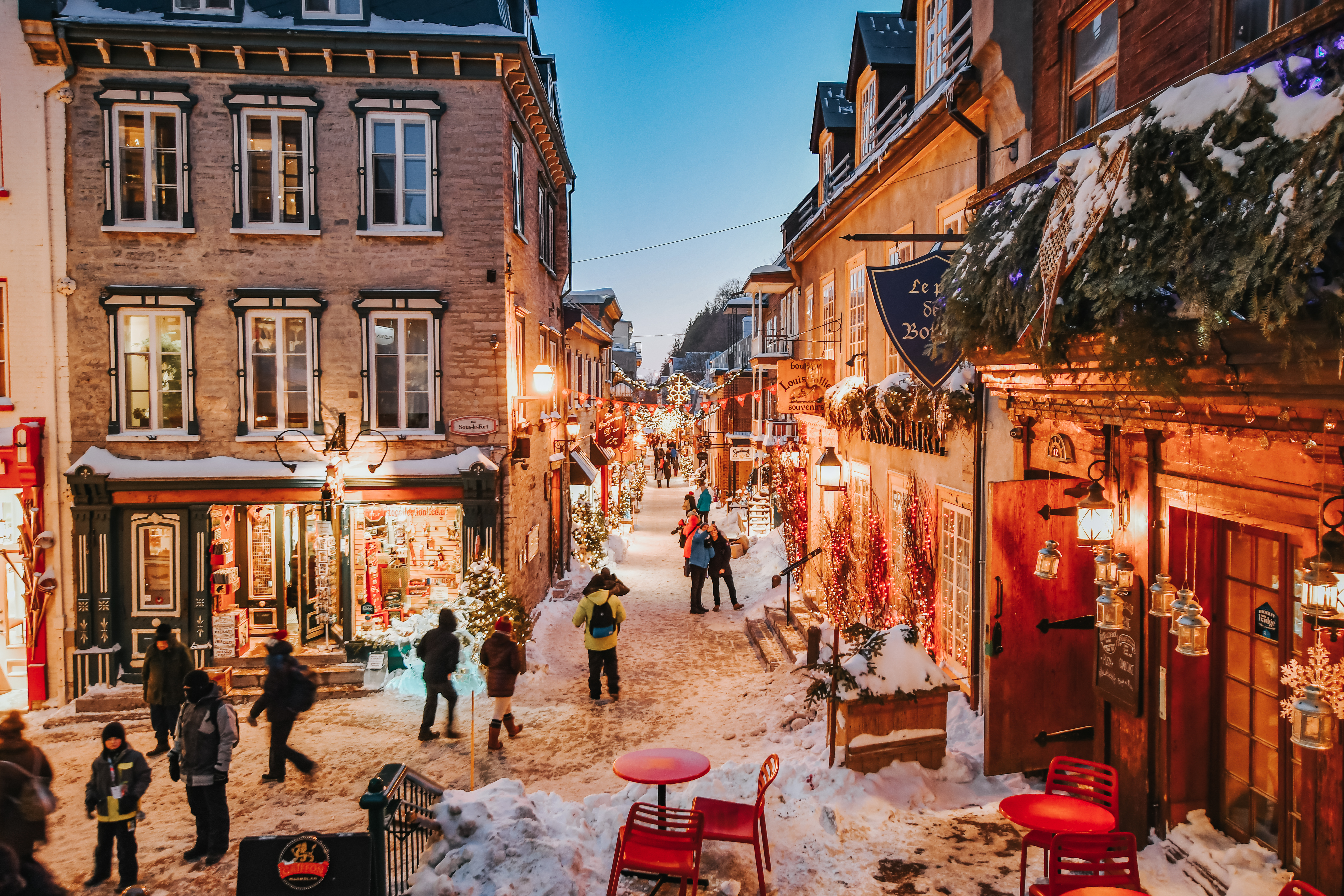 people wandering the streets of quebec city during carnaval de quebec