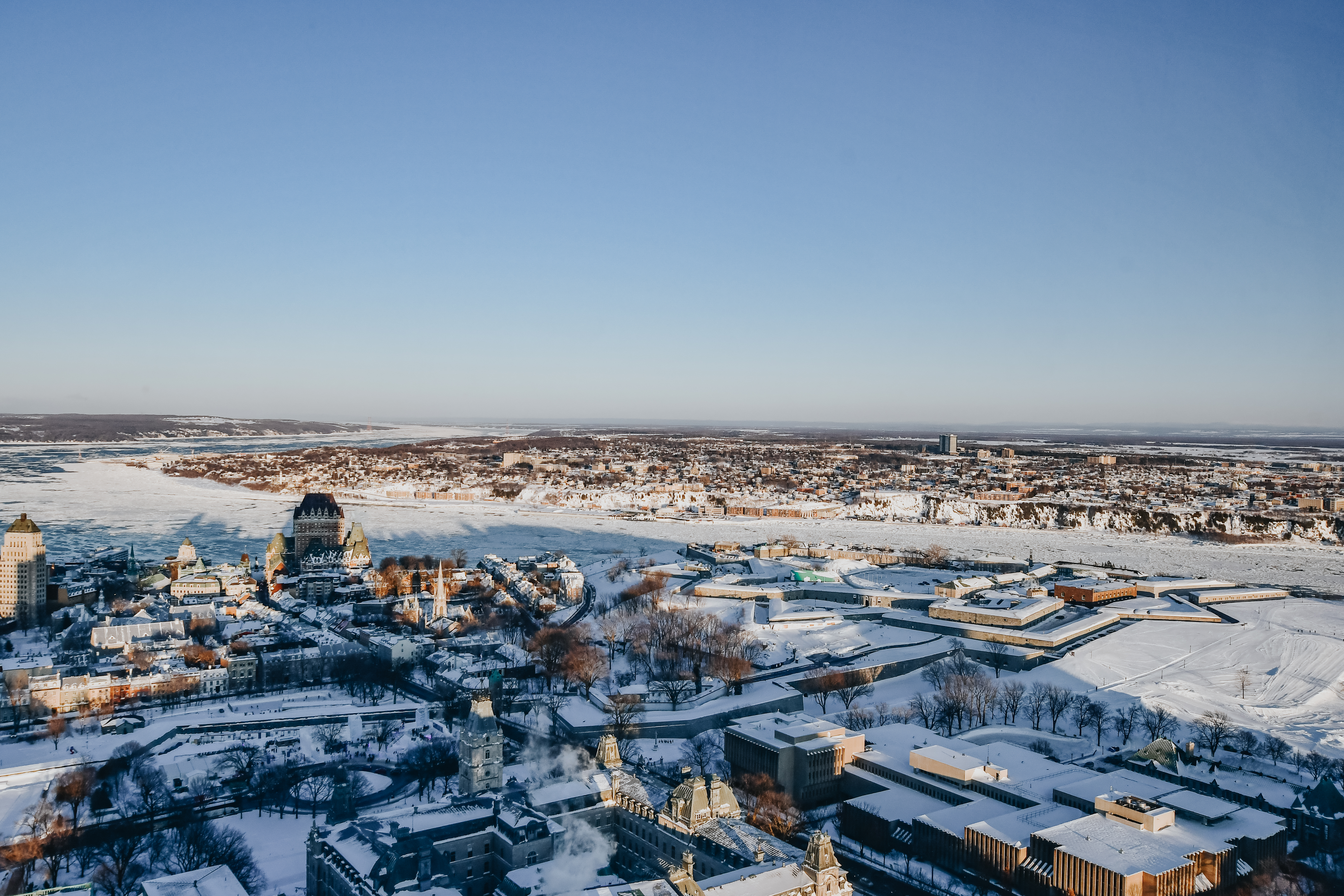 birds eye view of Quebec City