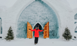 woman standing outside Hotel de Glace