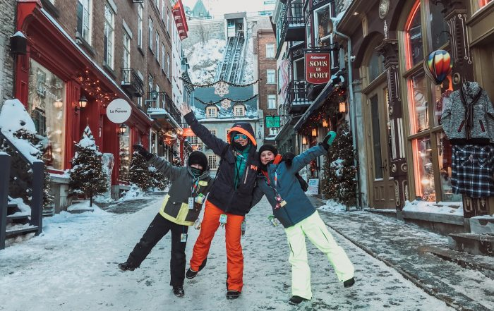 Jami Savage and children on their Canadian Winter Road Trip