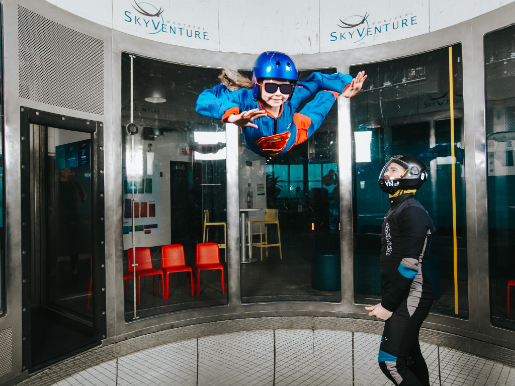 Girl skydiving indoors