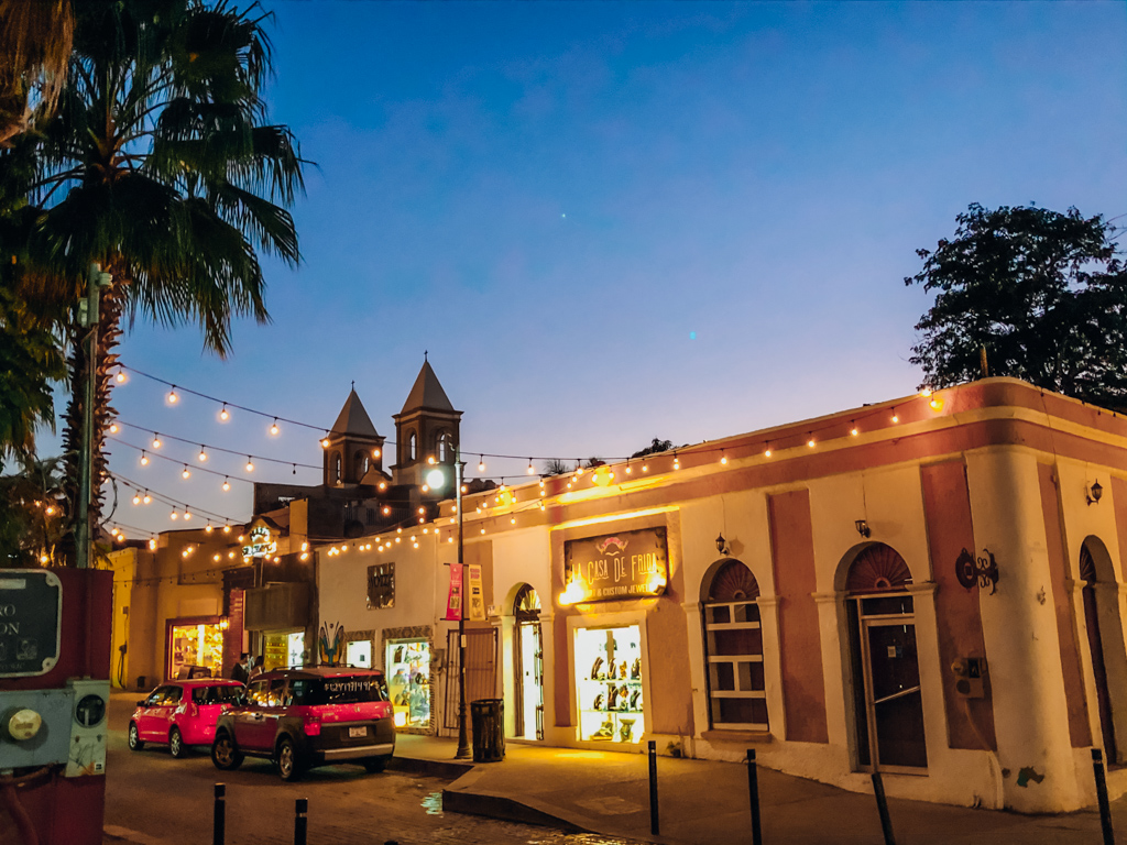 old buildings covered with lights at night in San Jose Del Cabo Walking Tour