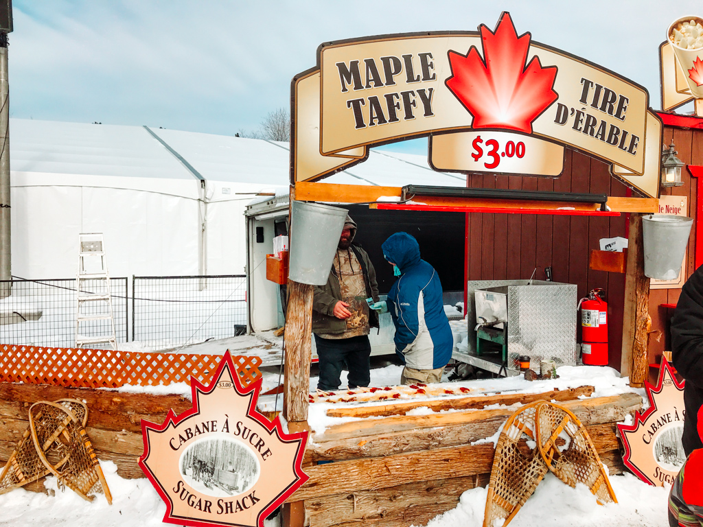 food stand at winterlude selling maple taffy