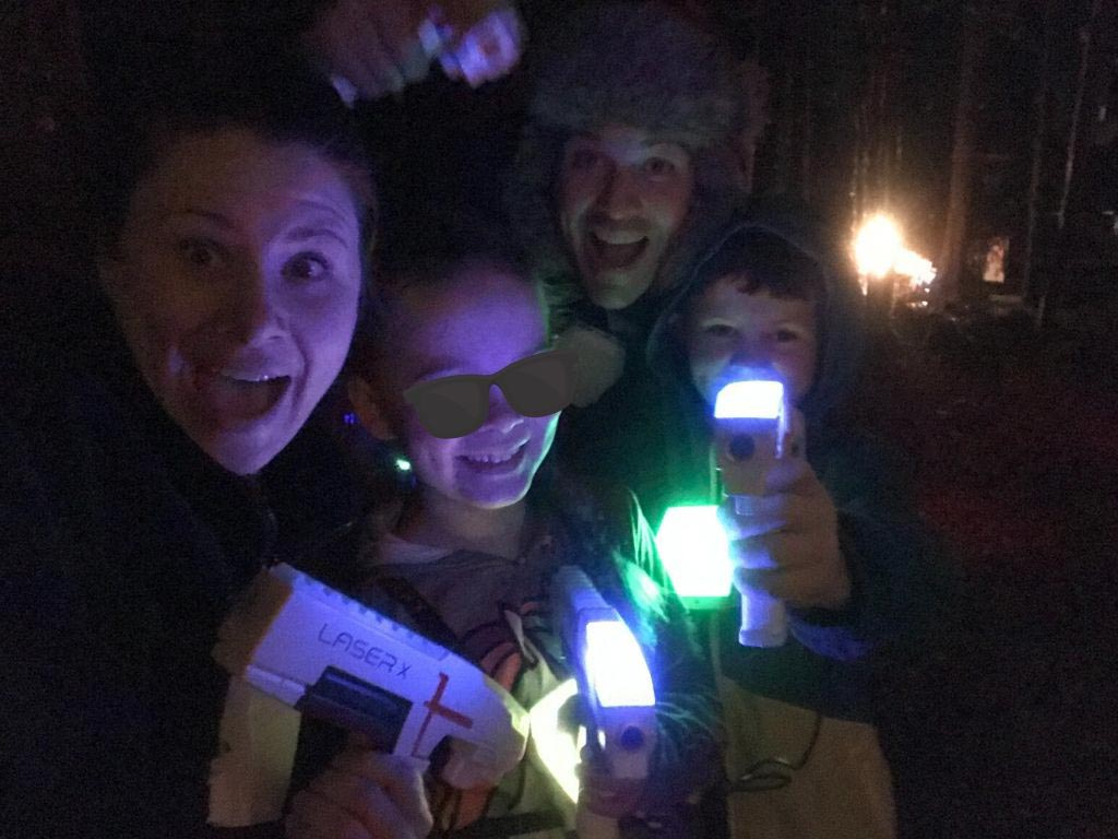 Jami Savage and family playing laser tag