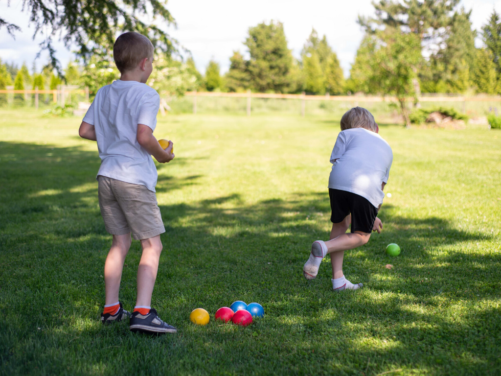 kids playing bocce ball