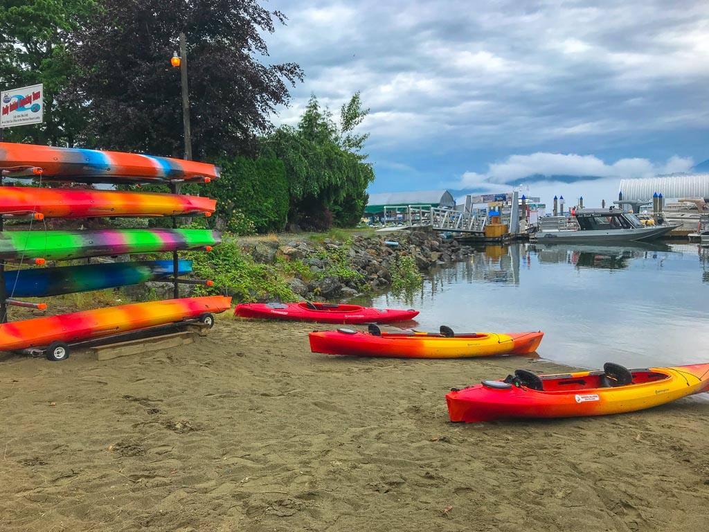 Harrison Lake Kayaking boats on the beach