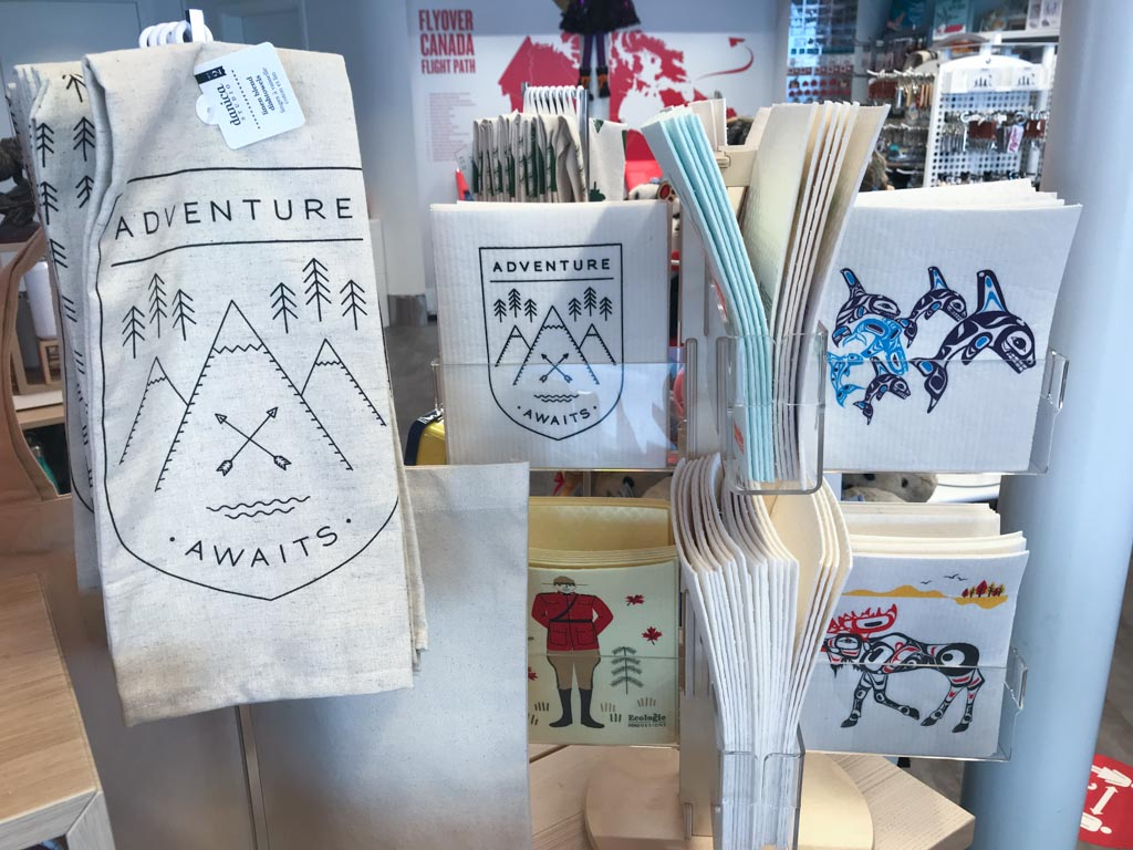 items in the flyover canada store that say adventure awaits