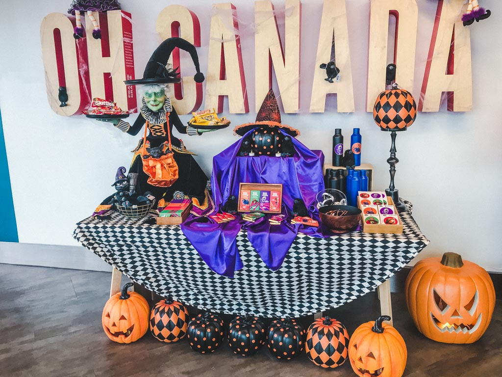 table covered in halloween decorations
